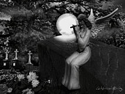 Night Angel Digital Art Prints - Flute of a grieving angel Print by Nikolay Vakatov
