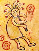 Cave Paintings - Flute Player Kokopelli by Carol Suzanne Niebuhr