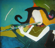 Illustrative Painting Prints - Flutist Print by Zhana Viel