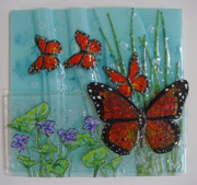 Fused Glass Art - Flutter-by - Monarch and Violets by Michelle Rial