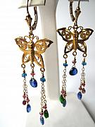 Insects Jewelry - Flutterbys With Gemstone Tendrils by Adove  Fine Jewelry