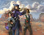 Steam Punk Painting Posters - Flux Engine Poster by Jeff Brimley