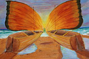 Docked Boats Painting Posters - Fly Away Sunset Poster by Christie Minalga