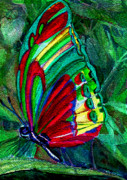 Colored Pencil Mixed Media Metal Prints - Fly Butterfly Metal Print by Mindy Newman