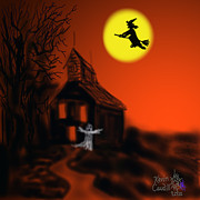 Halloween Card Mixed Media Posters - Fly By Night Poster by Kevin Caudill