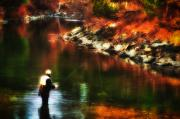 Fly Fishing Photo Posters - Fly Fisherman At Swift River Poster by Richard Danek