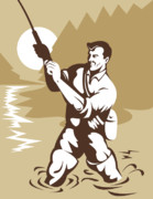 Fishing Poster Prints - Fly fisherman casting Print by Aloysius Patrimonio