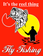 Fishing Poster Prints - Fly Fisherman catching largemouth bass Print by Aloysius Patrimonio