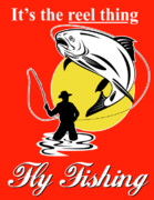 Jumping   Digital Art Posters - Fly fisherman catching trout Poster by Aloysius Patrimonio