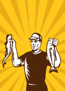 Fish Artwork Posters - Fly Fisherman holding bass fish catch Poster by Aloysius Patrimonio