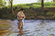 Trout Stream Landscape Prints - Fly Fisherman Print by Kenneth Young