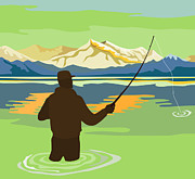Fisherman Digital Art Prints - Fly Fisherman Rod and Reel Retro Print by Aloysius Patrimonio