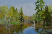Fly Fisherman Paintings - Fly Fisherman by Virginia Sincler