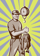 Fish Artwork Posters - Fly Fisherman weighing in fish catch  Poster by Aloysius Patrimonio