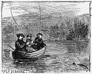 Fly Fisherman Posters - Fly Fishing, 1868 Poster by Granger