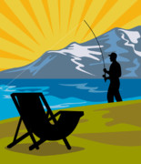 Fisherman Digital Art Prints - Fly Fishing Print by Aloysius Patrimonio