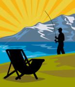 Fly Fishing Print by Aloysius Patrimonio