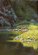 Reflection Pastels Prints - Fly Fishing Print by Billie Colson