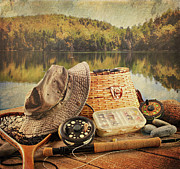 Freshwater Prints - Fly fishing equipment  with vintage look Print by Sandra Cunningham