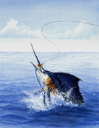 Leaping Painting Framed Prints - Fly Fishing for Sailfish Framed Print by Charles Harden