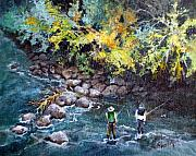 Flyfishing Painting Originals - Fly Fishing by Linda Shackelford