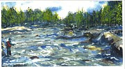 Fly Fisherman Paintings - Fly Fishing by Patrick Grills
