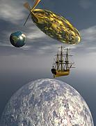 Tall Ships Posters - Fly me to the moon Poster by Claude McCoy