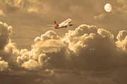 Airliners Photo Prints - Fly Me To The Moon . Partial Sepia Print by Wingsdomain Art and Photography