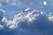 Airliners Photo Prints - Fly Me To The Moon Print by Wingsdomain Art and Photography