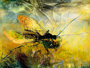 Insects Mixed Media Metal Prints - Fly on the wall Metal Print by Anne Weirich