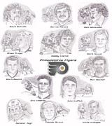Dave Schultz Drawings - Flyer Greats by Chris  DelVecchio