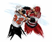 Sports Art Prints - Flyers Enforcer Riley Cote Print by David E Wilkinson