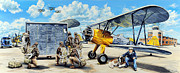 Biplane Paintings - Flyers In The Heartland by Charles Taylor