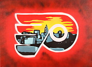Hockey Painting Originals - Flyers by Tom Evans