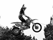 Dirt Bike Framed Prints - Flying 1 Framed Print by Lawrence Christopher