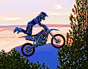 Dirt Bike Framed Prints - Flying 4 Just Hangin On Framed Print by Lawrence Christopher