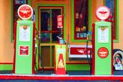 Pumps Digital Art Prints - Flying A Gas Station Print by Noel Zia Lee