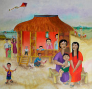 Nipa House Paintings - Flying a Kite with James  by Miriam Besa