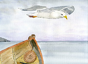 Seagull Drawings Originals - Flying Across by Eva Ason