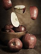 Red Delicious Prints - Flying apples Print by Andriy Zolotoiy