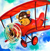 Juvenile Wall Decor Painting Posters - Flying Bear Poster by Scott Nelson