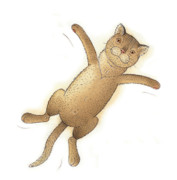 Cat Drawings Prints - Flying Cat02 Print by Kestutis Kasparavicius
