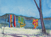 Beach Towel Prints - Flying Colors Print by Barbara Struber
