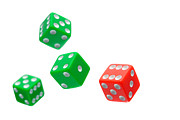 Game Photo Prints - Flying Craps Dice  Print by Olivier Le Queinec