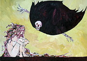 Cloak Painting Framed Prints - FLYING DEATH and SITTING LADY Framed Print by Fabrizio Cassetta