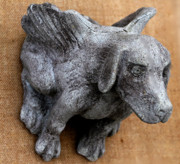 Animal Sculpture Posters - Flying dog gargoyle Poster by Katia Weyher
