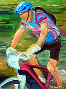 Mountain Bike Paintings - Flying down the mtn by Michael Lee