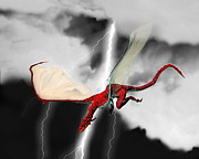 Stormy Night Prints - Flying Dragon Print by Victor Habbick Visions