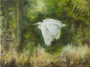 Helen Originals - Flying Egret by Helen Tatum