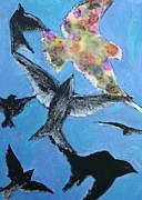 Crows Pastels - Flying Free by Alma Yamazaki